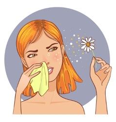 Sneezing in handkerchief woman because of allergy vector image
