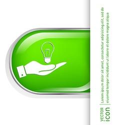 Hand holding a lightbulb character ideas vector