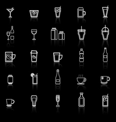 Drink line icons with reflect on black vector