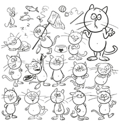 Set of hand drawn cats vector