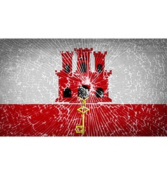Flags gibraltar with broken glass texture vector