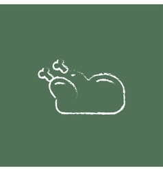Raw chicken icon drawn in chalk vector