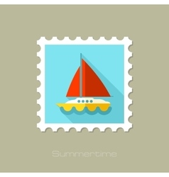 Boat with a sail flat stamp long shadow vector