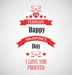 Valentine retro poster with red ribbons template vector