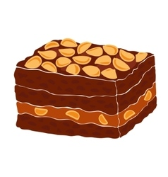 Piece of a classic chocolate brownie vector image