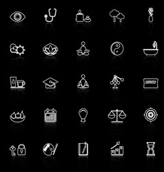 Meditation line icons with reflect on black vector