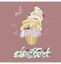 Fantastic cakes with dessert menu vector