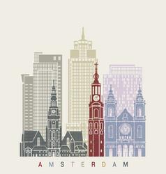 amsterdam v2 skyline poster vector image vector image