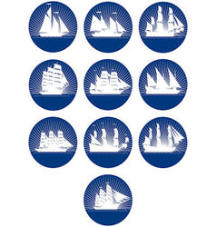 Badges with sailing ships-3 vector