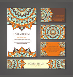 Banners and business cards with arabic or indian vector image vector image