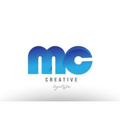 Blue gradient mc m c alphabet letter logo vector