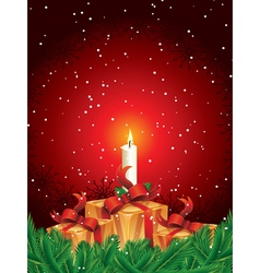 christmas gift packages with candle and pine leave vector image