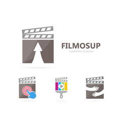 Clapperboard and arrow up logo vector