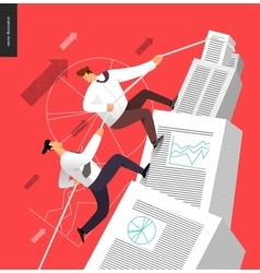 Climbing up in a stack of accounting documents vector
