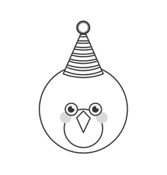 Cute bird with party hat vector image vector image