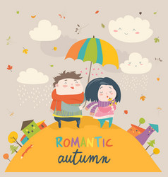 cute couple with an umbrella in the autumn rain vector image vector image