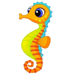 Cute seahorse cartoon vector