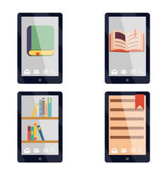 E-book reader e-reader flat icons and symbols set vector