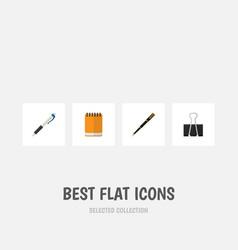 flat icon equipment set of nib pen paper clip vector image vector image