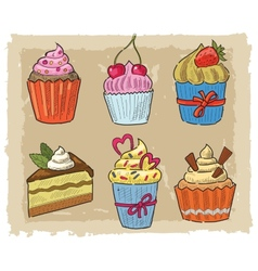 Hand drawn cupcake vector