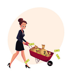 happy woman girl businesswoman pushing vector image vector image