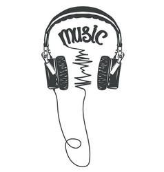 headphones t-shirt graphic tee print vector image vector image