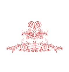 Heart greeting and ornaments vintage vector image