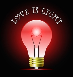 Heart shape in glowing red light bulb vector