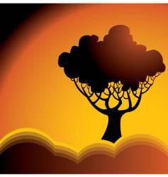 hills tree vector image vector image