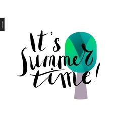 It s summer time lettering and a tree vector image vector image
