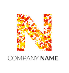 Letter n logo with orange yellow red particles vector