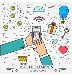 Mobile payments using a smartphone online shopping vector