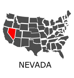 Nevada state on usa map vector