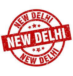 New delhi red round grunge stamp vector