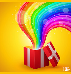 Open gift with rainbow vector