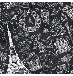 Paris winterdoodle christmas seamless pattern vector