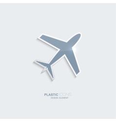 Plastic icon airplane symbol vector image