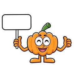 Pumpkin character picket and thumb up gesture vector