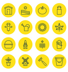 Set of 16 garden icons includes package jug vector