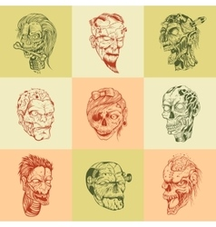 Set of nine drawn image with the zombie skull vector