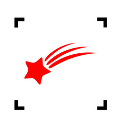 Shooting star sign red icon inside black vector