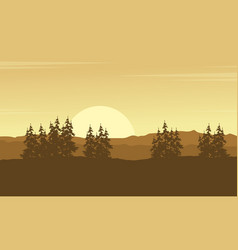 Silhouette of hill with spruce tree scenery vector