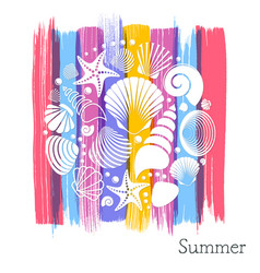 Summer card with white sea shells vector