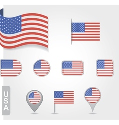 USA flag icon set vector image vector image