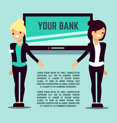 welcome bank info page with flat girls and screen vector image