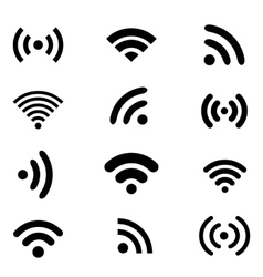 Wireless technology black web icons set vector image