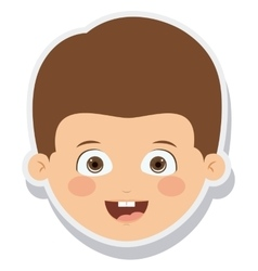 Head little boy smiling isolated vector
