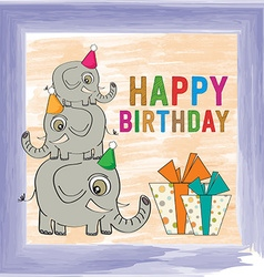 Childish birthday card with funny elephants vector