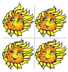 funny sunflowers with a smile vector image