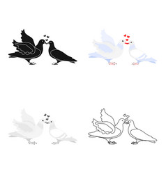 Two funny cartoon pigeons  white vector